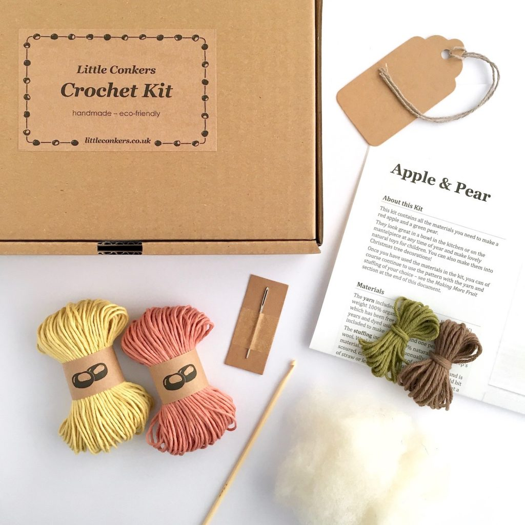 Apple and Pear Fruit Crochet Kit Contents
