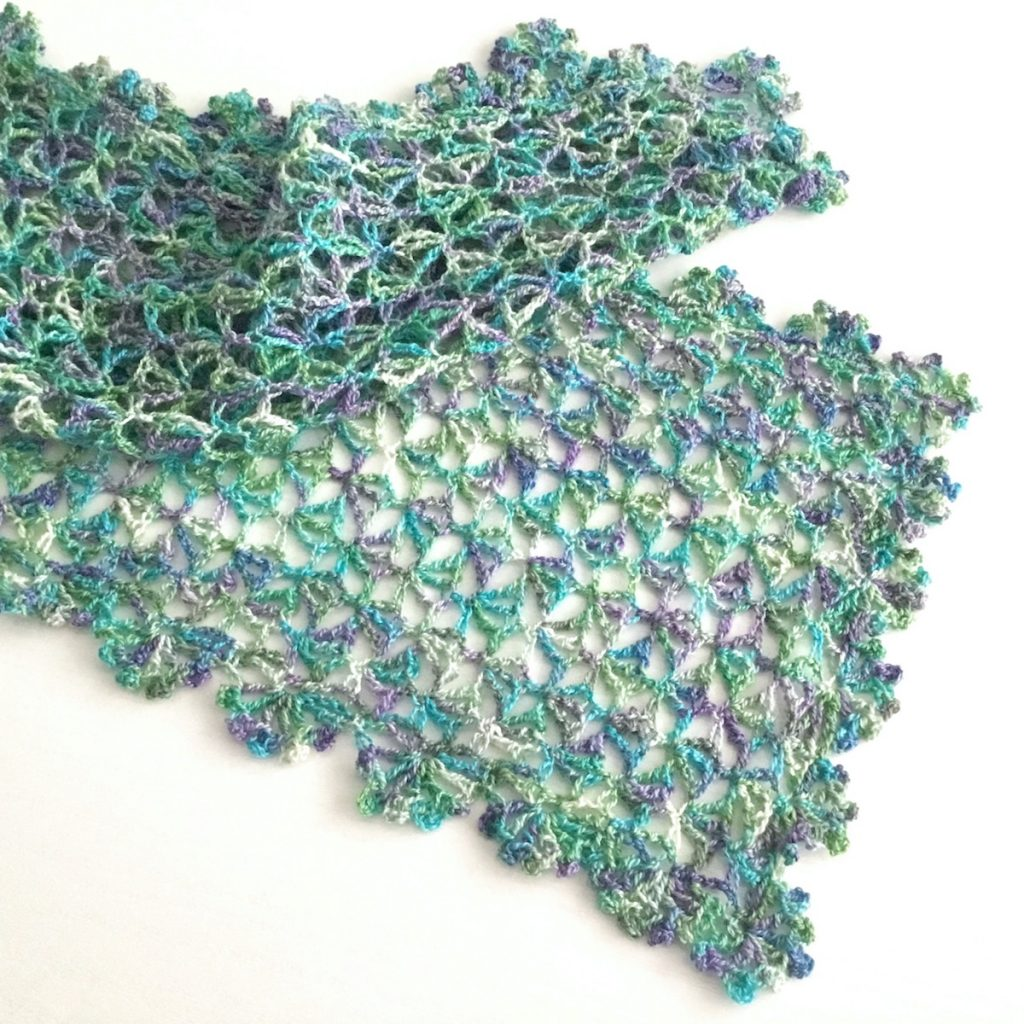 Lacy Crochet Scarf in Purple, Blue and Green