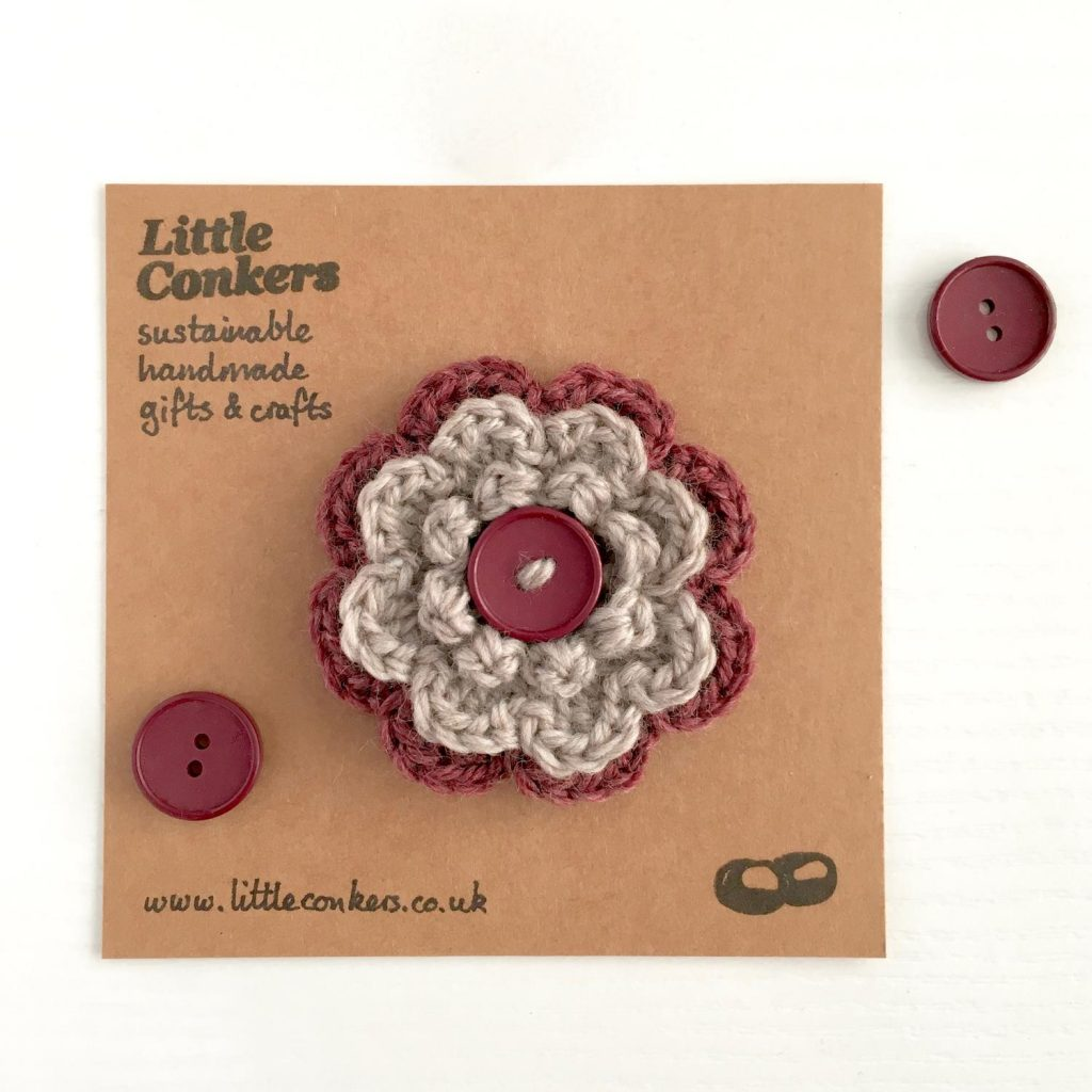 Eco-friendly Woollen Flower Brooch with vintage buttons