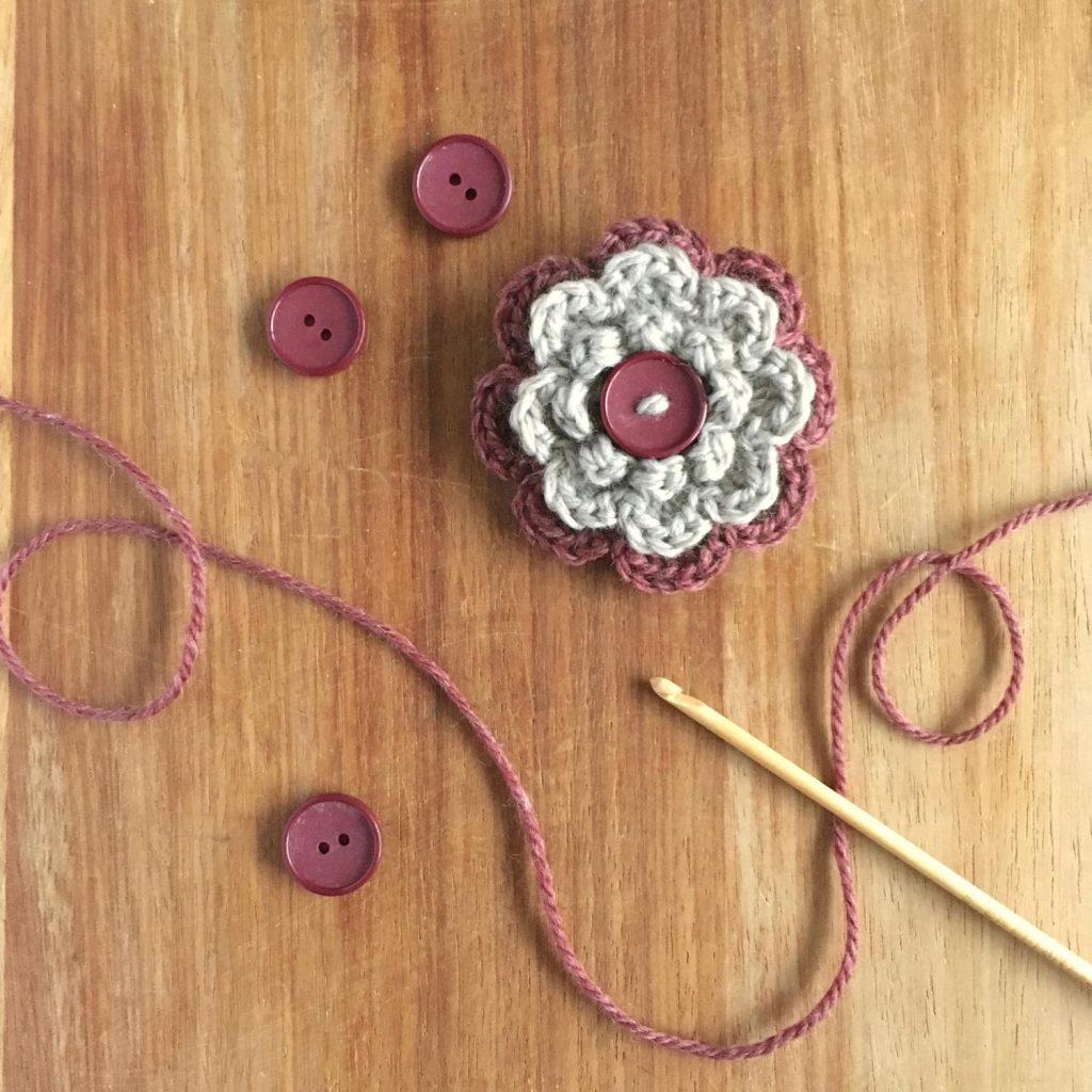 Eco-friendly Button Flower Brooch