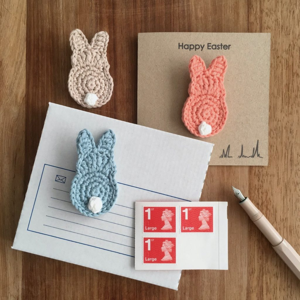 Bunny Brooch Easter Card with Envelope and Stamp