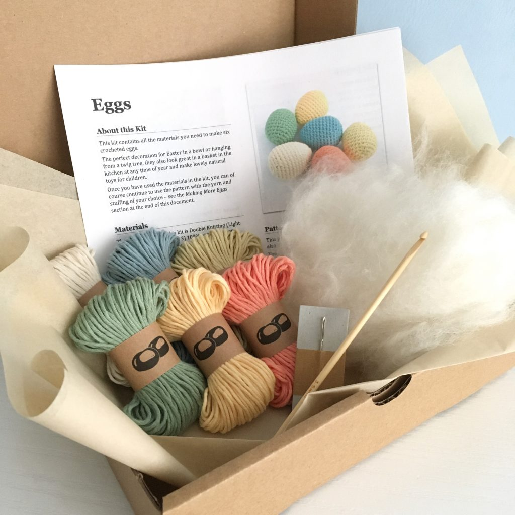 Contents of the Little Conkers Egg Crochet Kit
